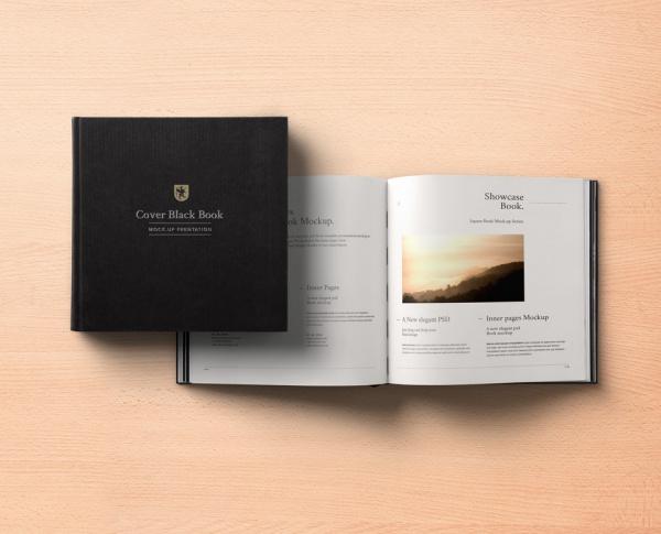 Black Psd Square Book Mock-up