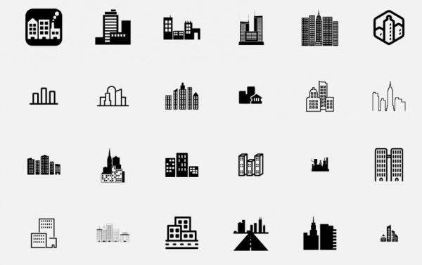 Black Shaded City Icons