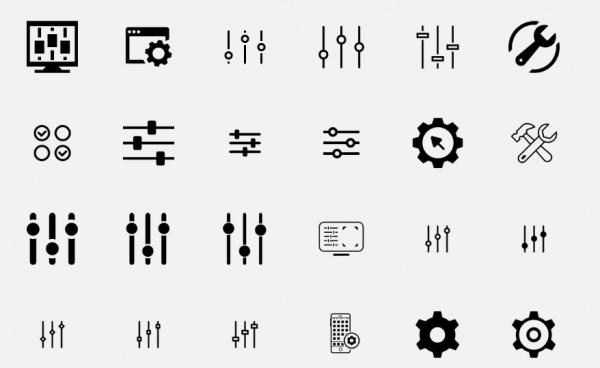 Black Shaded Setting icons