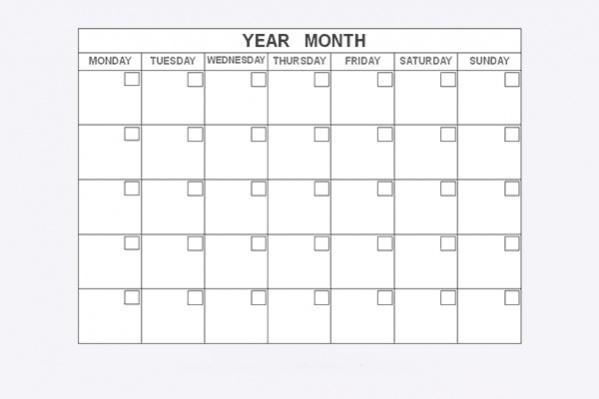 Blank Attendance Calendar