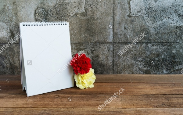 Blank Calendar on Wooden Table