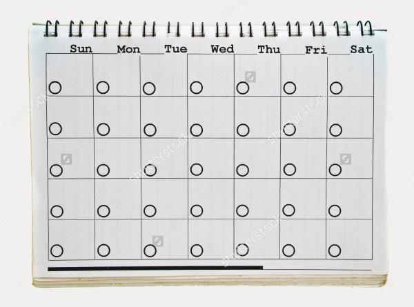 Blank Excel Calendar