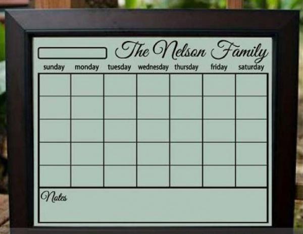 Blank Grid Family Calendar