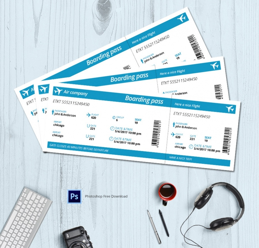 Boarding Pass Ticket template for Air travel