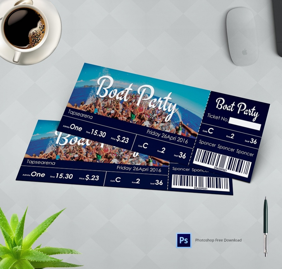 Elegant Boatparty Ticket Template