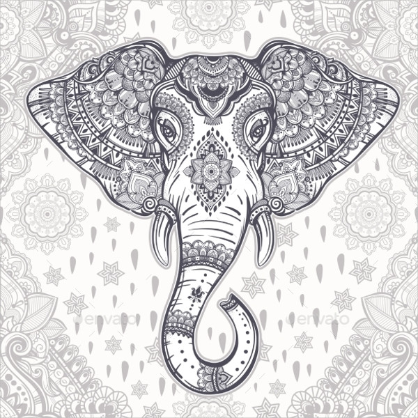Bohemian Vector Elephant Pattern