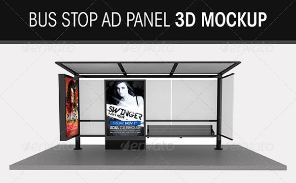 Bus Stop Ad Panel 3D Mockup