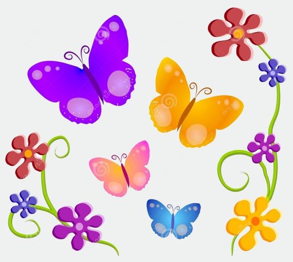 Butterflies Flower Clip Art