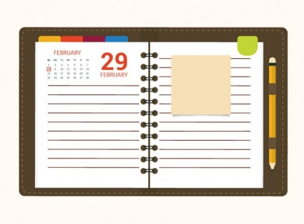 Calendar Notebook Paper Template