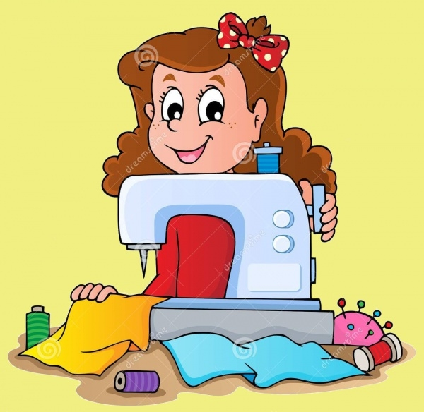 Cartoon Girl With Sewing Machine Clipart