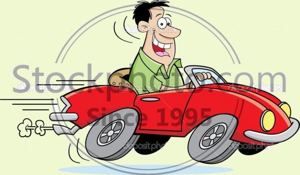Cartoon Man Driving Car Clipart