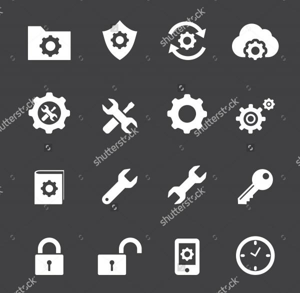 Cartoon Style Icons Set of Setting