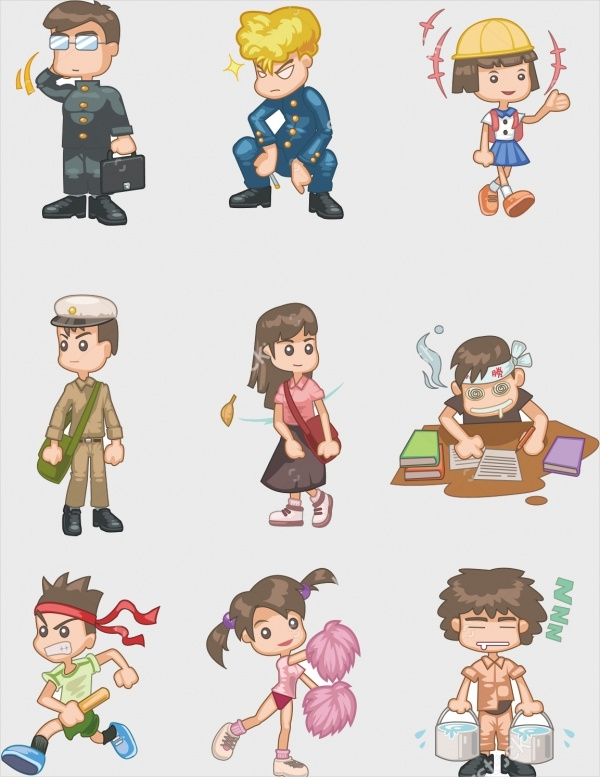 Cartoon Style Student Icons
