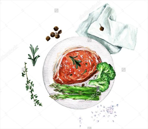 Cartoon Pork Food Clip Art Design