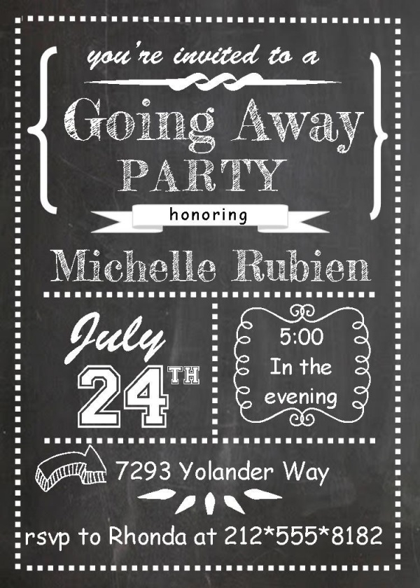 Chalk Board Farewell Party Invitation