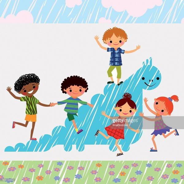 Children Playing Cartoon Clipart