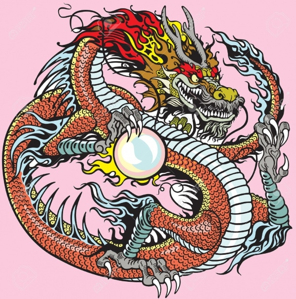 Chinese Dragon Tattoo Illustration