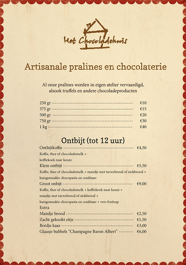 Chocolate Menu Card Design