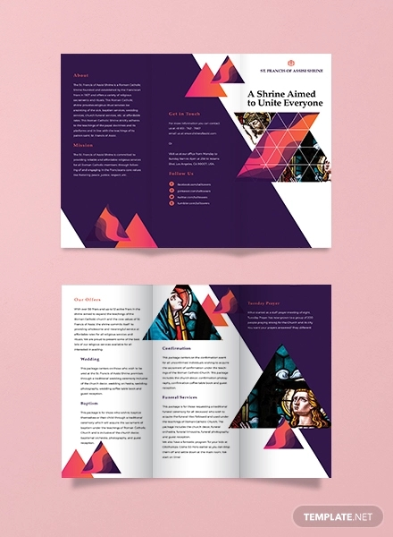 church tri fold brochure template