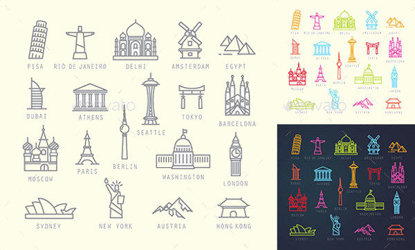 City Travel Flat Icons