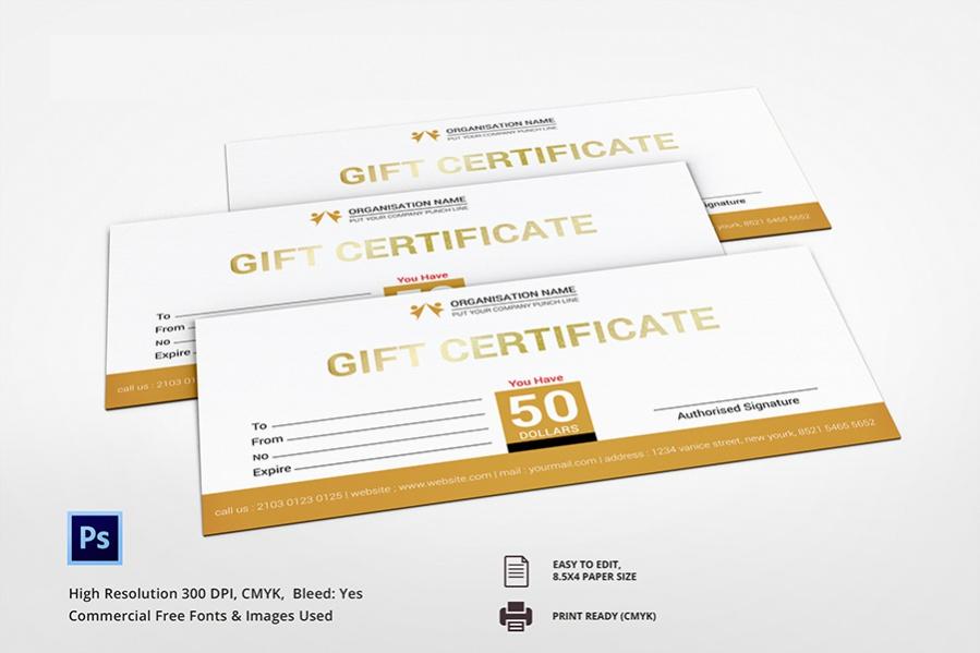classy golden gift certificate