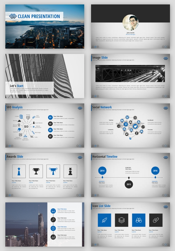 clean business sales keynote presentation template