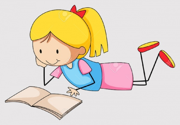 Close up Girl Reading Education Clipart