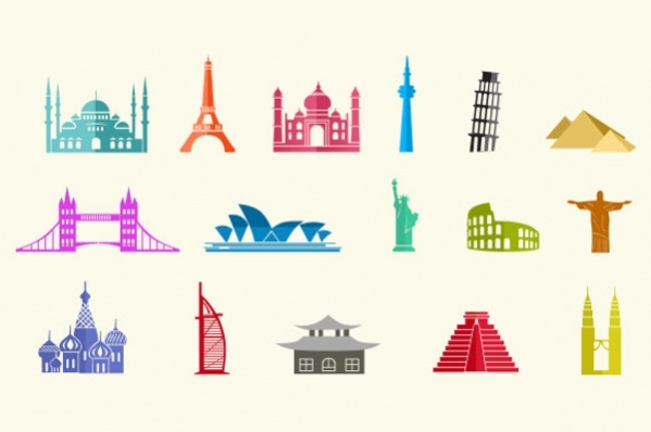 Colorful City landmark Icons