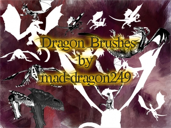 Colorful Flat Dragon Brushes