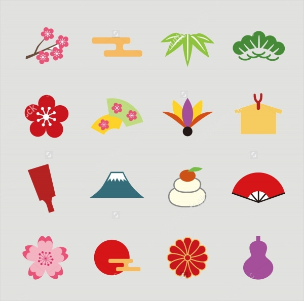 Colorful New Year Icons