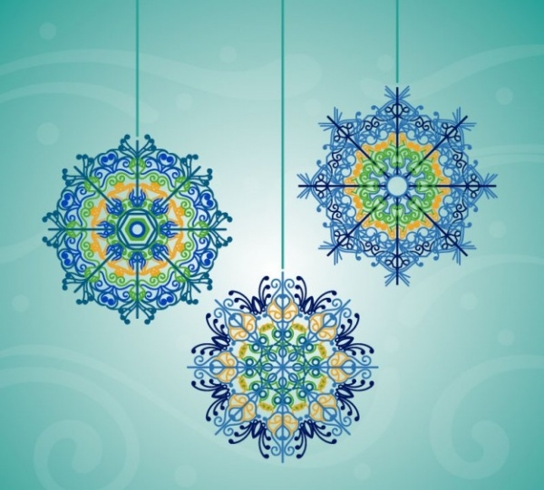 Colorful Snowflakes Free Vector
