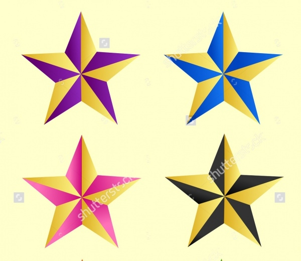 Colorful Star Shape Clipart