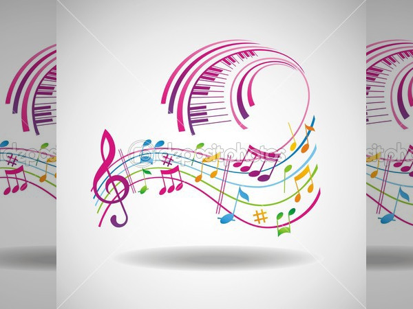 Colorful Music Background Clipart