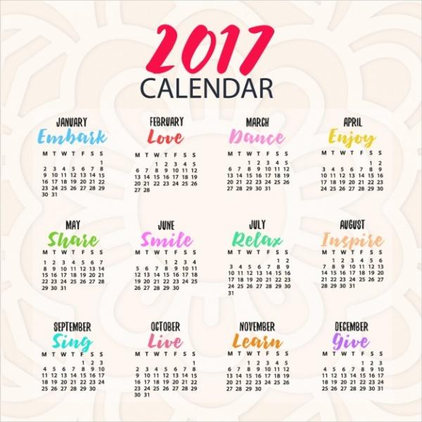 Coloured Yearly calendar design