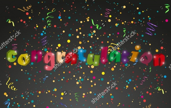 Congratulation banner with confetti