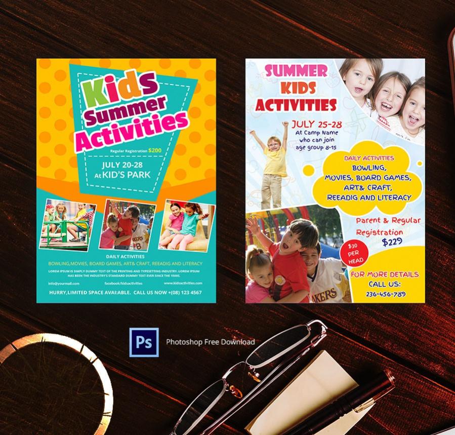 cool summer kids activities flyer