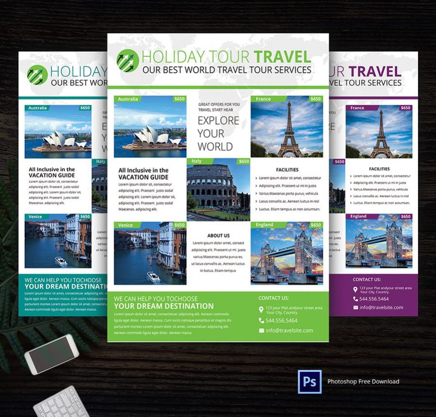 custom holiday tour travel flyer