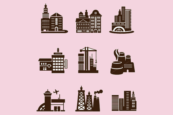 Customizable City Buildings Icon