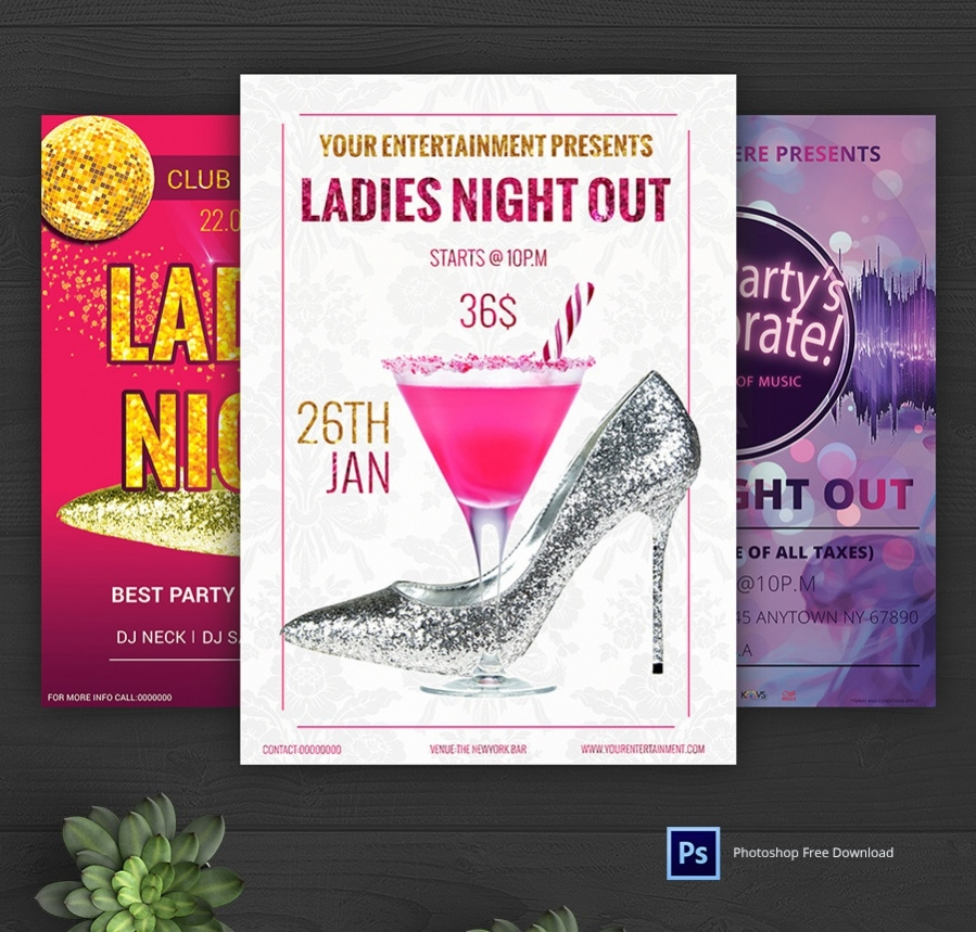 customizable template for ladies night out flyer