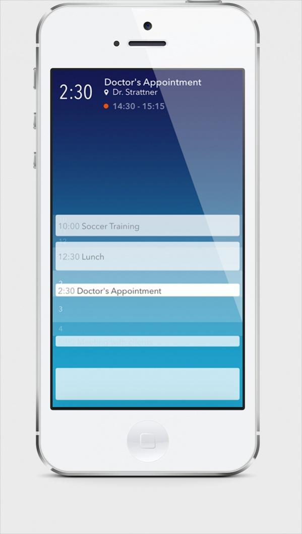 Daily Online Calendar iPhone Design