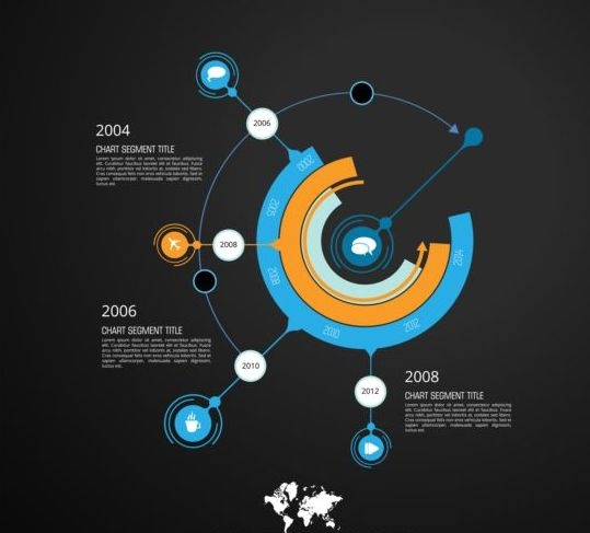 Dark chart infographic vector