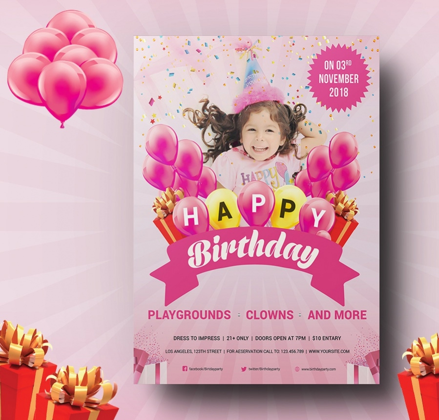 decorative birthday party flyer