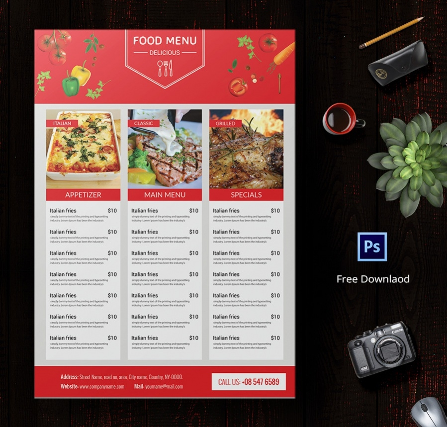 6+ Free Menu Designs (Cafe Menu, Restaurant Menu, Party Menu) | Free ...