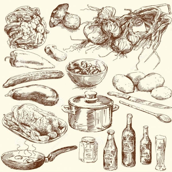 Doodle Food Clipart Design