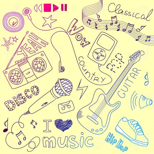Doodle Music Line Clip Art