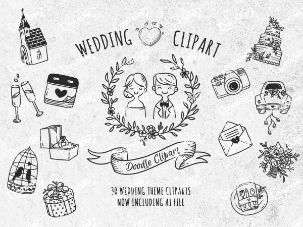 Doodle Wedding Clip Art