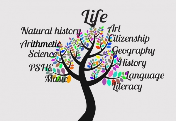 Education Tree Typography Clipart