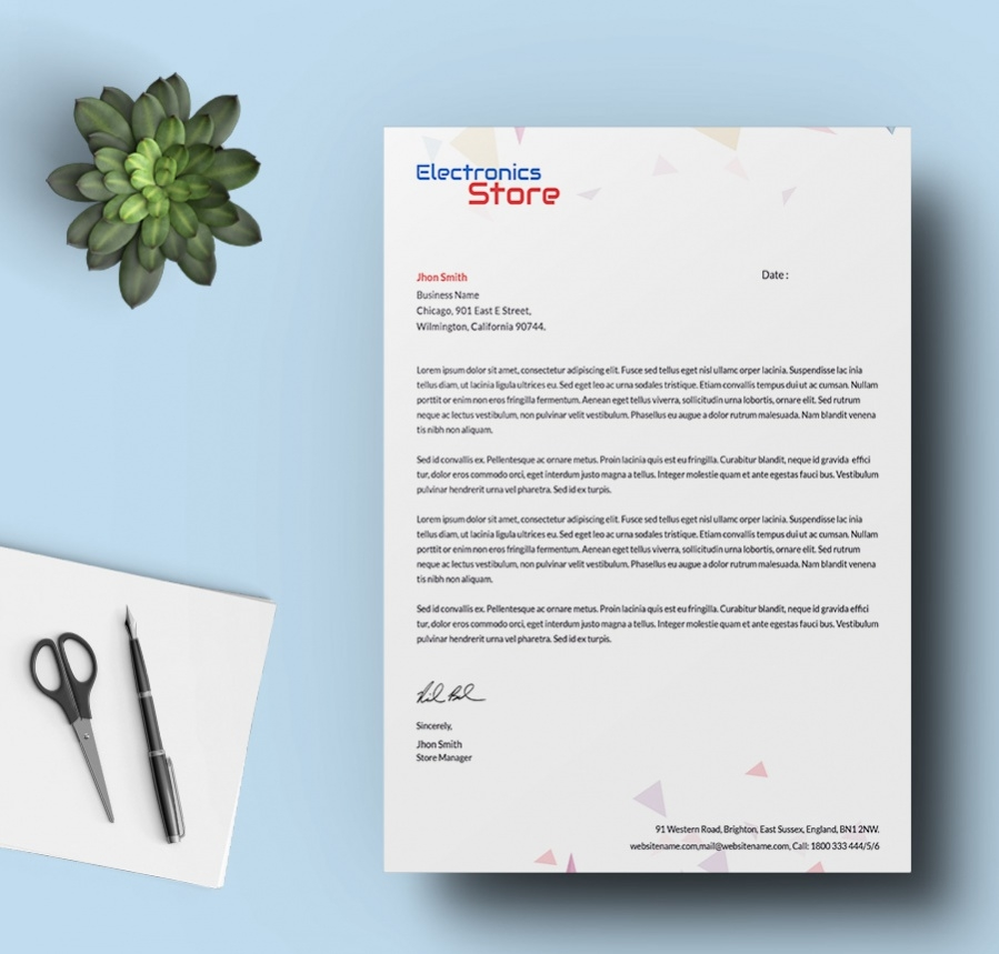 electrical thermal store letterhead template