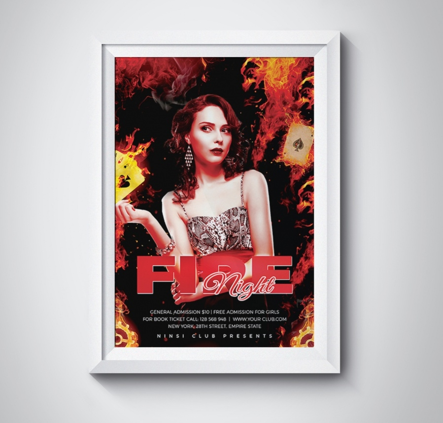 elegant fire night poster template