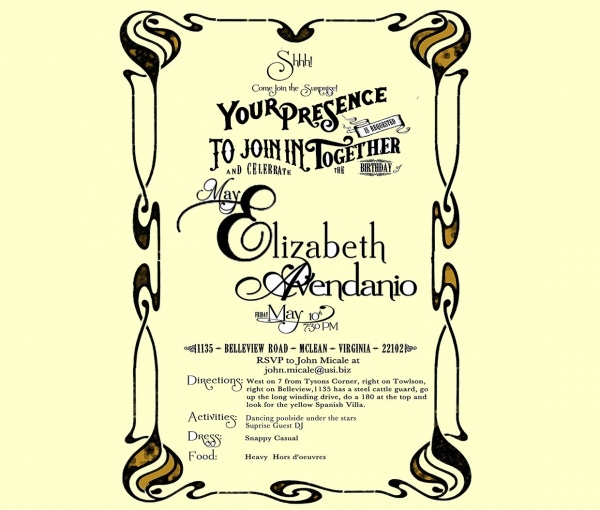 Elizabeth Surprise Party Invitation